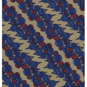 Red & Blue on Sand Print Pattern Silk Pocket Square #MCP-540