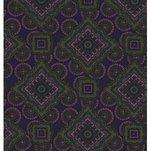 Olive Green, Light Lavender, Young Leaf Green on Dark Navy Print Pattern Silk Pocket Square #MCP-546