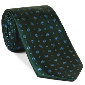 Sky Blue on Forest Green Classic Flower Silk Tie #FFFT-5