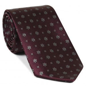 Gray on Burgundy Classic Flower Silk Tie #FFFT-6
