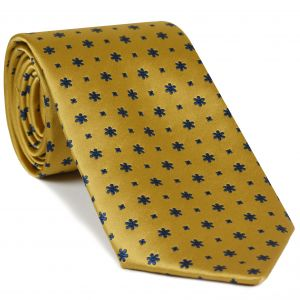 Dark Navy on Yellow Gold Classic Flower Silk Tie #FFFT-7