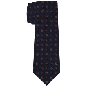 Burnt Orange on Midnight Blue Classic Flower Silk Tie #FFFT-2
