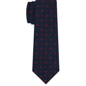 Red on Midnight Blue Classic Flower Silk Tie #FFFT-3