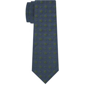 Young Leaf Green on Charcoal Gray Classic Flower Silk Tie #FFFT-4
