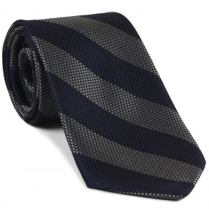 Charcoal Gray & Midnight Blue Grenadine Fina Wide Stripe Silk Tie #GFBST-2