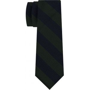 Forest Green & Midnight Blue Grenadine Fina Wide Stripe Silk Tie #GFBST-3