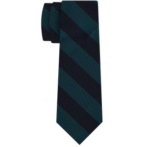 Dark Turquoise & Midnight Blue Grenadine Fina Wide Stripe Silk Tie #GFBST-4