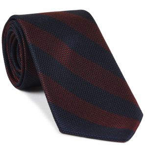 Dark Red & Midnight Blue Grenadine Fina Wide Stripe Silk Tie #GFBST-5