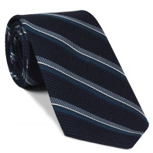 Dark Turquoise, Slate & White on Midnight Blue Grenadine Fina Stripe Silk Tie #GFMST-1