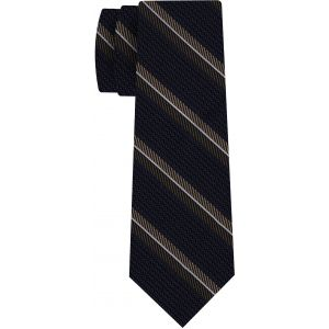 Chocolate, Brown & White on Midnight Blue Grenadine Fina Stripe Silk Tie #GFMST-2