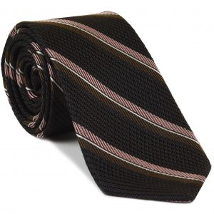 Chocolate, Salmon & White on Dark Chocolate Grenadine Fina Stripe Silk Tie #GFMST-3