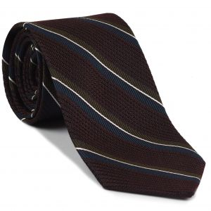 Navy Blue, Chocolate & White on Burgundy Grenadine Fina Stripe Silk Tie #GFMST-5