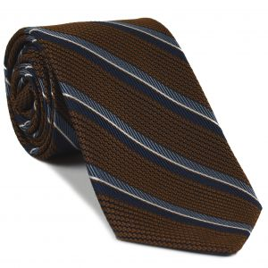 Navy Blue, Slate Blue & White on Chocolate Grenadine Fina Stripe Silk Tie #GFMST-6