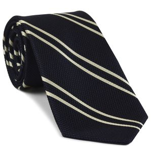 Off-White on Midnight Blue Grenadine Fina Reppe Stripe Silk Tie #GFRST-10