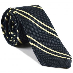 Off-White on Slate Blue Grenadine Fina Reppe Stripe Silk Tie #GFRST-11