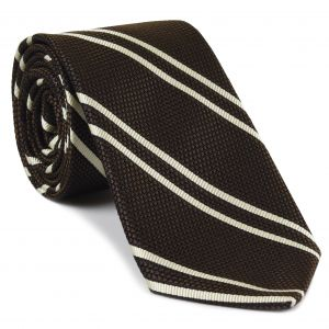 Off-White on Chocolate Grenadine Fina Reppe Stripe Silk Tie #GFRST-12