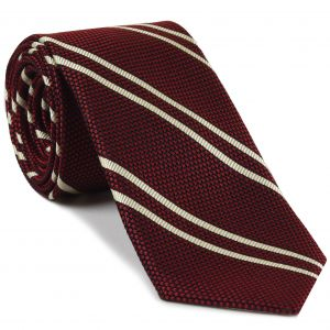 Off-White on Red Grenadine Fina Reppe Stripe Silk Tie #GFRST-14