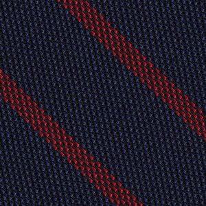 Red on Dark Navy Blue Grenadine Fina Stripe Silk Pocket Square #GFSBP-1