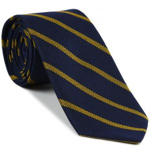 Yellow on Dark Navy Blue Grenadine Fina Stripe Silk Tie #GFSBT-2