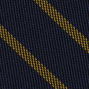 Yellow on Dark Navy Blue Grenadine Fina Stripe Silk Pocket Square #GFSBP-2