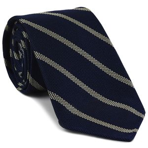Off-White on Dark Navy Blue Grenadine Fina Stripe Silk Tie #GFSBT-3