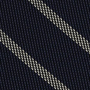 Off-White on Dark Navy Blue Grenadine Fina Stripe Silk Pocket Square #GFSBP-3