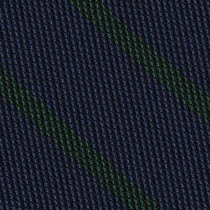 Forest Green on Dark Navy Blue Grenadine Fina Stripe Silk Pocket Square #GFSBP-4