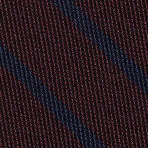 Blue on Burgundy Grenadine Fina Stripe Silk Pocket Square #GFSBP-5