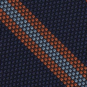 Mandarin & Sky Blue on Dark Navy Blue Grenadine Fina Stripe Silk Pocket Square #GFSCP-1