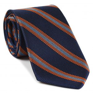 Mandarin & Sky Blue on Dark Navy Blue Grenadine Fina Stripe Silk Tie #GFSCT-1