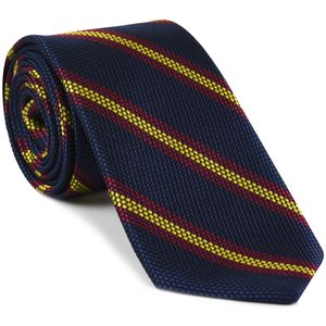 Dark fuchsia & Yellow on Dark Navy Blue Grenadine Fina Stripe Silk Tie #GFSCT-2