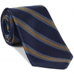 Sky Blue & Yellow Gold on Navy Blue Grenadine Fina Stripe Silk Tie #GFSCT-3