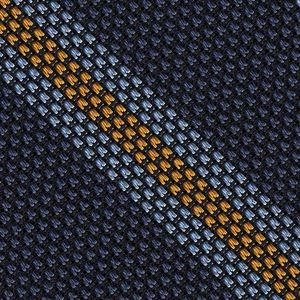 Sky Blue & Yellow Gold on Navy Blue Grenadine Fina Stripe Silk Pocket Square #GFSCP-3