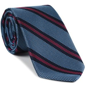 Dark Navy & Dark Pink on Sky Blue Grenadine Fina Stripe Silk Tie #GFSCT-5