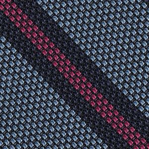 Dark Navy & Dark Pink on Sky Blue Grenadine Fina Stripe Silk Pocket Square #GFSCP-5