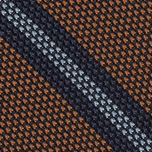 Navy Blue & Sky Blue ob Burnt Orange Grenadine Fina Stripe Silk Pocket Square #GFSCP-6
