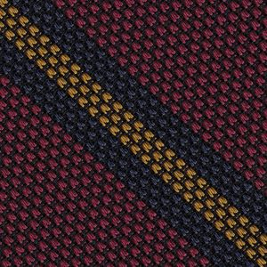 Navy Blue & Yellow Gold on Red Grenadine Fina Stripe Silk Pocket Square #GFSCP-7