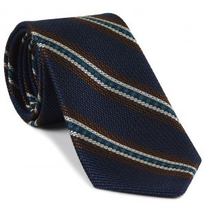 Chocolate, Turquoise & Off-White on Dark Navy Blue Grenadine Fina and Grossa Stripe Silk Tie #2
