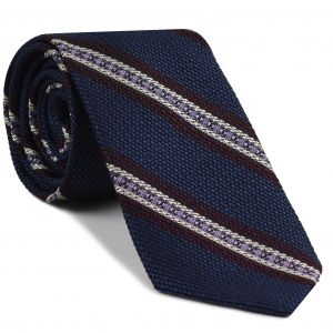 Burgundy, Lavender & Off-White on Navy Blue Grenadine Fina and Grossa Stripe Silk Tie #3