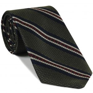 Midnight Blue, Red & Off-White on Olive Green Grenadine Fina and Grossa Stripe Silk Tie #4