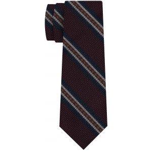 Dark Turquoise, Burnt Orange & Off-White on Dark Red Grenadine Fina and Grossa Stripe Silk Tie #5