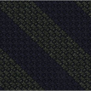 Dark Olive Green & Midnight Blue Grenadine Grossa Wide Stripe Silk Bow Tie #GGBSBT-8