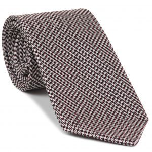 Dark Red, Black & White Hounds Tooth Silk Tie #HDT-8