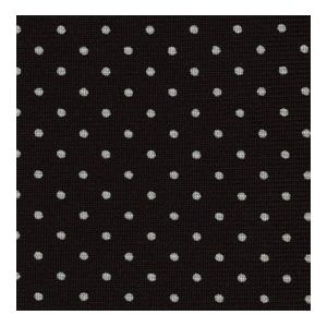 White On Black Printed Pin Dot Silk Informal Pleated Ascot #MCPDIA-1