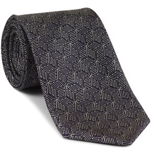 Off-White on Dark Navy Blue Macclesfield Print Pattern Silk Tie #MCT-517