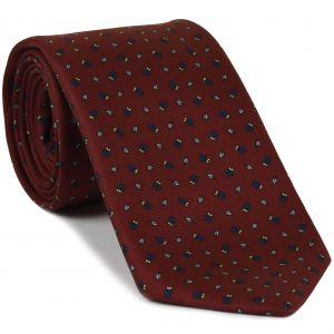 Blue, Off White, Black, Light Yellow on Dark Red Print Pattern Silk Tie #MCT-522