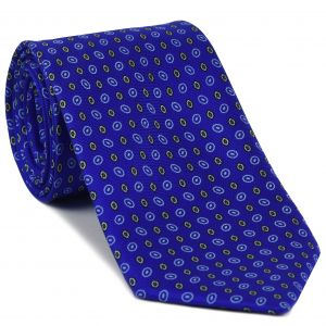 Off White, Black, White on Royal Blue Print Pattern Silk Tie #MCT-529