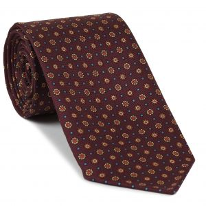 Orange, Light Yellow, Sky Blue on Burgundy Print Pattern Silk Tie #MCT-533