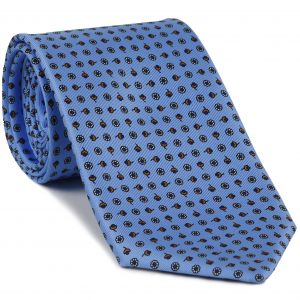 Dark Orange, Off-White & Blue on Powder Blue Print Pattern Silk Tie #MCT-537