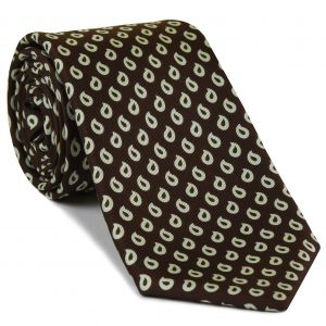 Off-White on Dark Chocolate Print Pattern Silk Tie #MCT-539